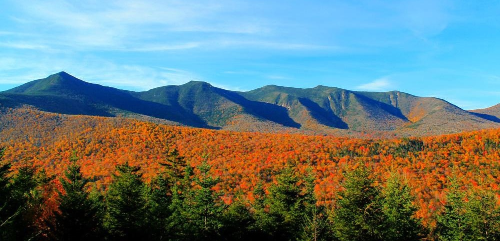 White Mountains, New Hampshire, with orange foliage
