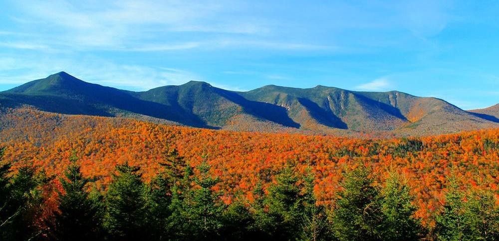 White Mountains, New Hampshire, with orange foliage