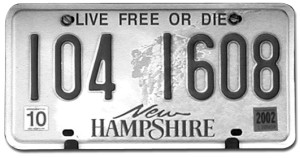 live free or die number plate