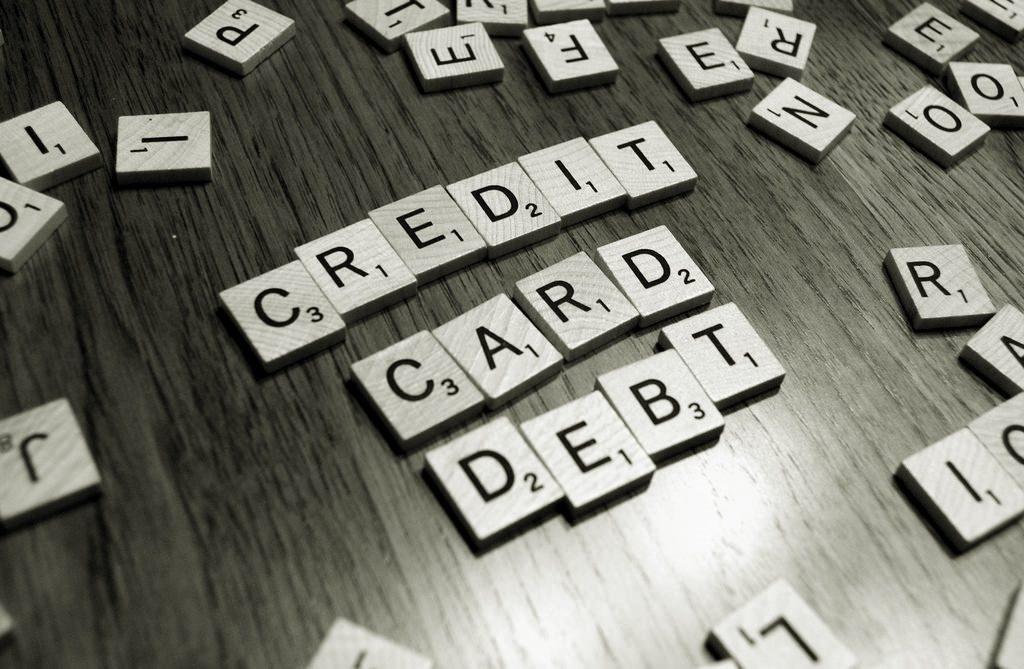credit card debt scrabble letters