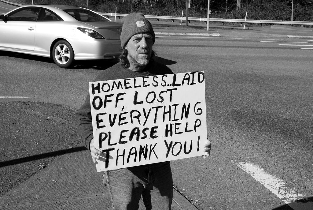 Homeless laid off man